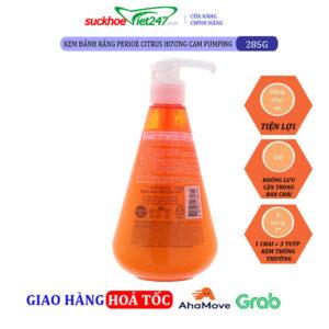 Kem Đánh Răng Perioe Citrus hương cam Pumping Trắng Răng 285g