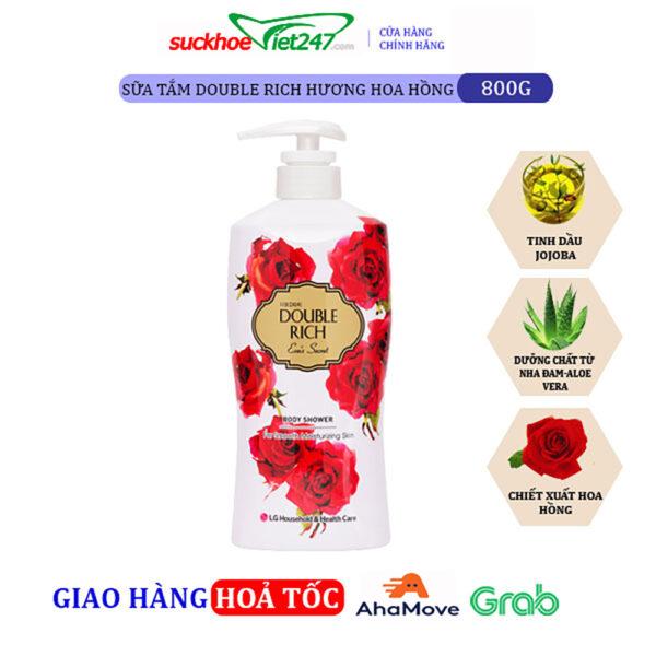 Sữa tắm Double Rich Hoa Hồng 800g
