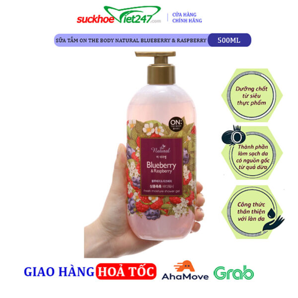 Sữa tắm On The Body Natural Blueberry & Raspberry 500g