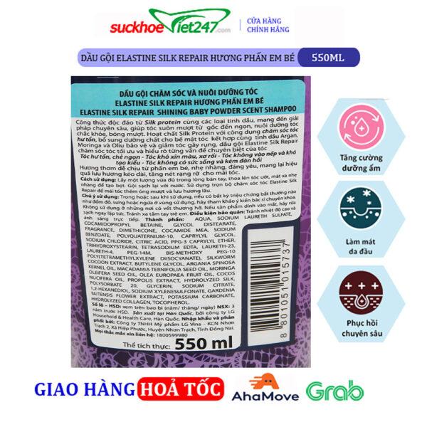 Dầu gội Elastine Silk Repair Hương Phấn Em Bé 550ml