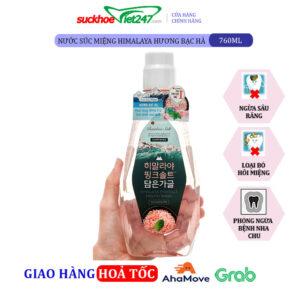 Nước súc miệng Bamboo Himalaya Pink Salt Ice Calming Mint 760ml Hương Bạc Hà