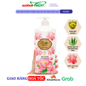 Sữa tắm dưỡng trắng Double Rich hoa sen và tinh chất gạo 800g